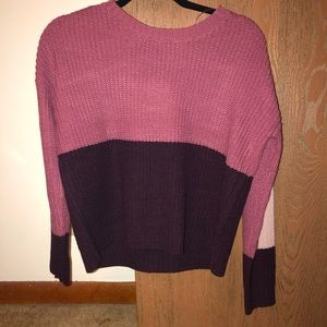 Sweaters - Pink and burgundy color block sweater